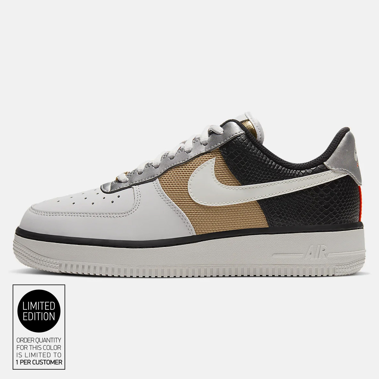 Nike Air Force 1 07 Women S Shoes Vast Grey Sail Black Metallic Gold Ct3434 001 Constructed with black leather and suede throughout while clay hits the swoosh and pink underlays. nike air force 1 07 women s shoes