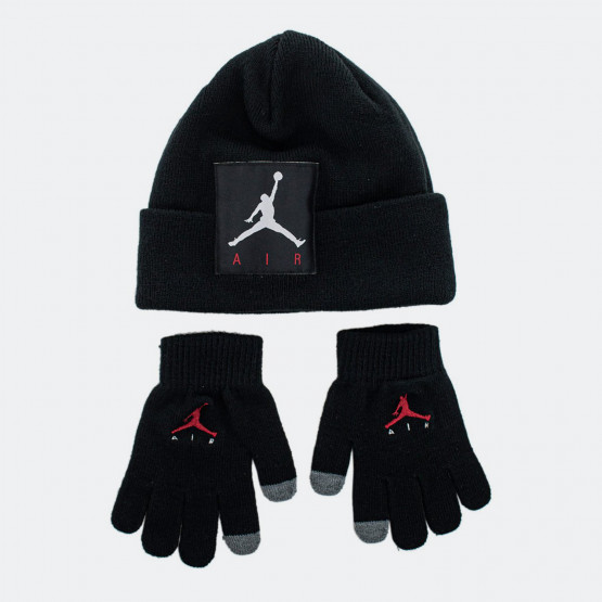 Jordan Offset Patch Beanie Παιδικό Σετ Σκουφάκι Γάντια