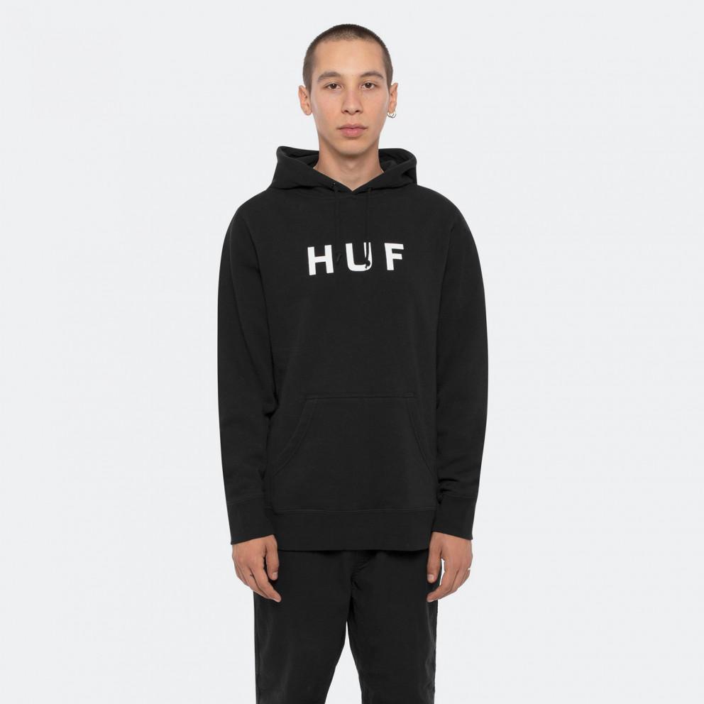 Huf Essentials Logo Ανδρική Μπλούζα με Κουκούλα
