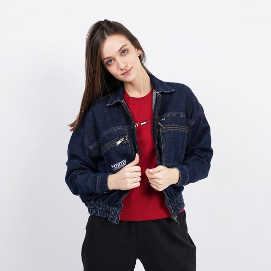 Tommy Jeans Zip Cropped Γυναικείο Τζιν Μπουφάν