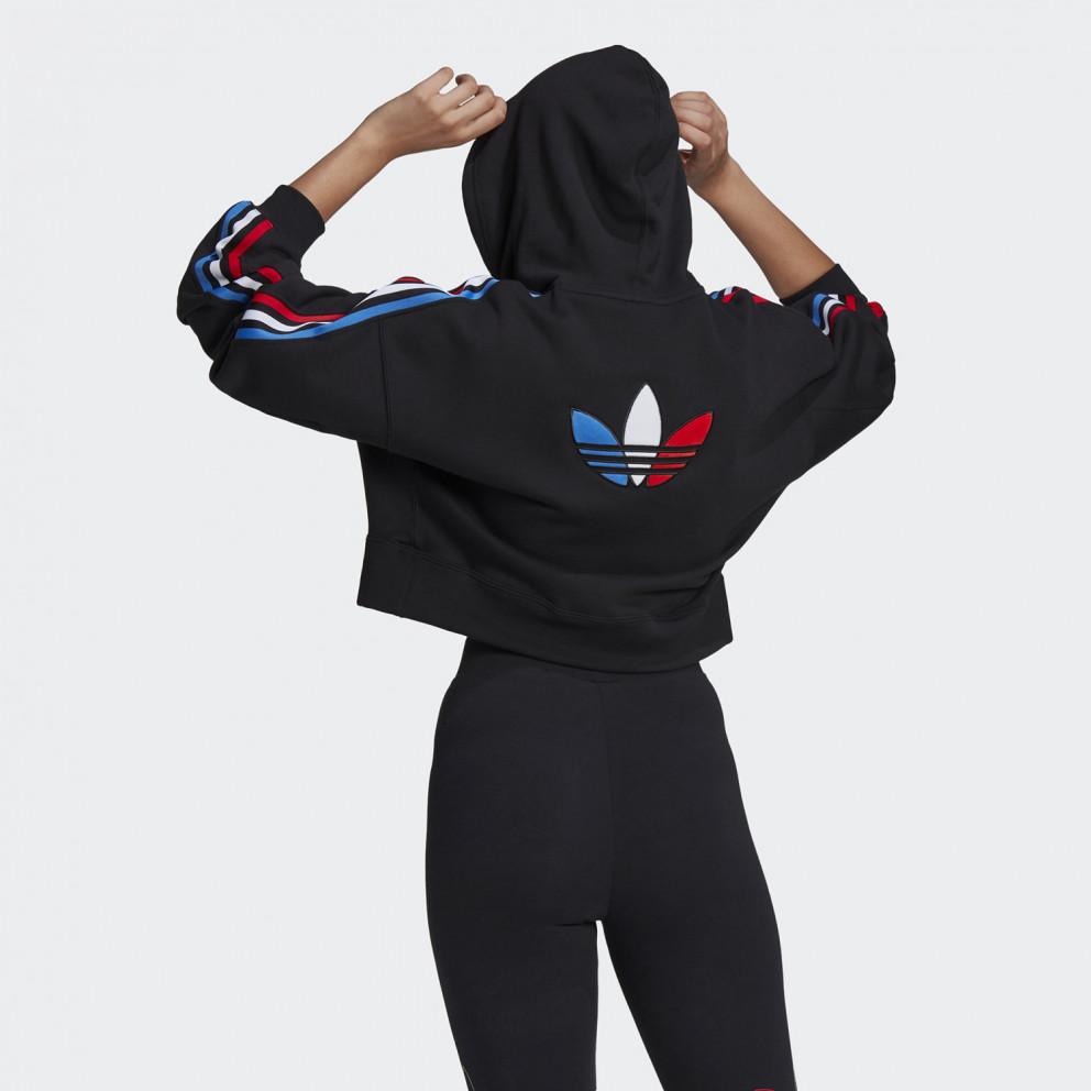 Adicolor Tricolor Trefoil Crop Γυναικείο Φούτερ Μαύρο