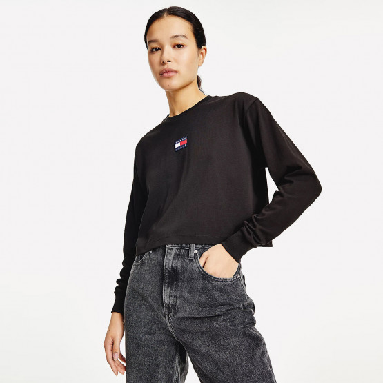 Tommy Jeans Badge Μακρυμάνικο Γυναικείο Crop TopJeans Tjw Crop Tommy Badge Center Ls