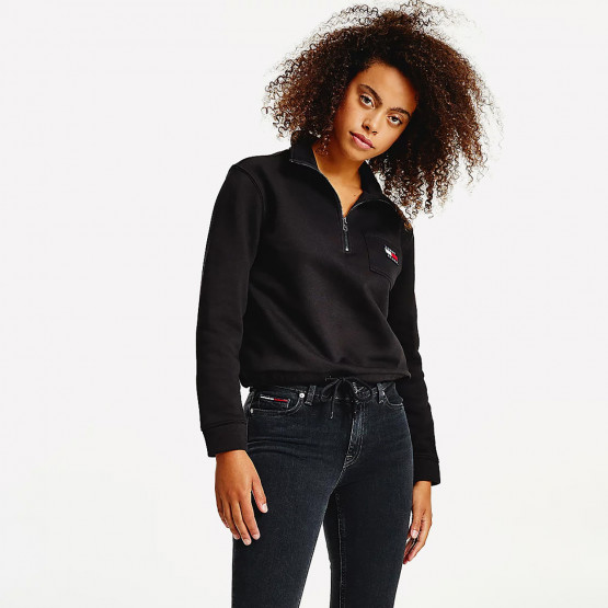 Tommy Jeans Relaxed Badge Quarter Zip Γυναικεία Cropped Μπλούζα Φούτερ