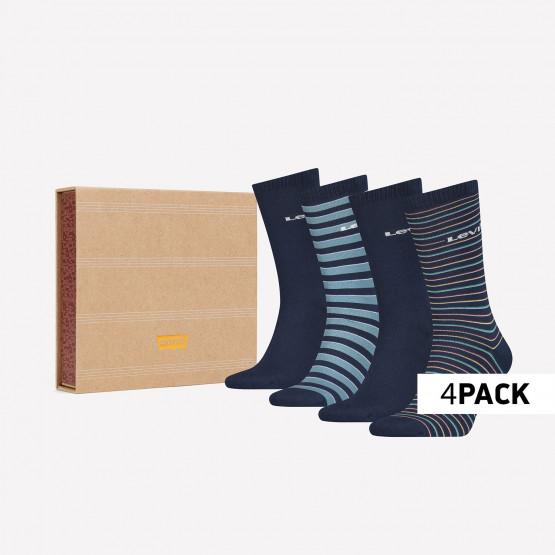 Levis Giftbox Regular Cut Stripe Unisex Socks - 4 Pack